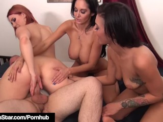 Busty babe siri pornstar punishes peeping tom in hot 4 way!