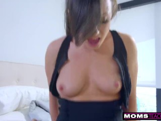 Step mom wakes sleeping son for cock and creampie