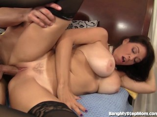 Busty stepmom rides her stepson's big dick!