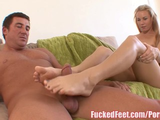Cute Teen Gives First Footjob and Make Him Cum Hard! FuckedFeet!